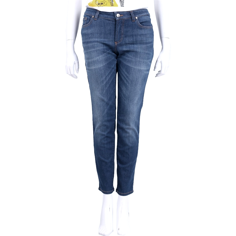 VERSACE 藍色仿舊刷色圖騰設計九分牛仔褲