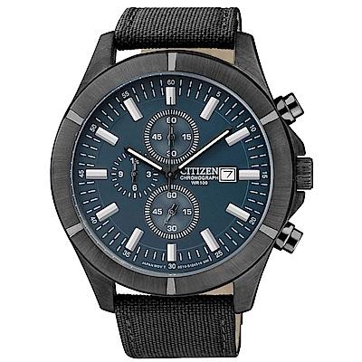 CITIZEN星辰  極限強悍三眼計時石英腕錶 (AN3525-01L)- 藍/44mm
