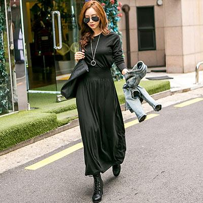 正韓-圓領素面高收腰長袖洋裝-共三色-N-C21