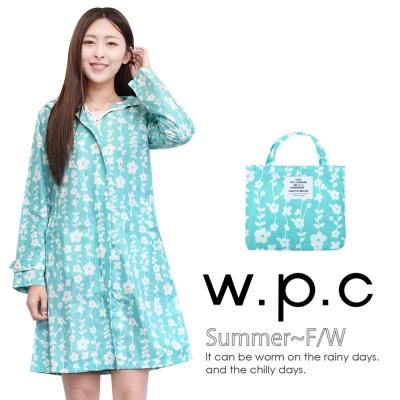 w.p.c.甜美花朵款時尚雨衣風衣R1026綠色