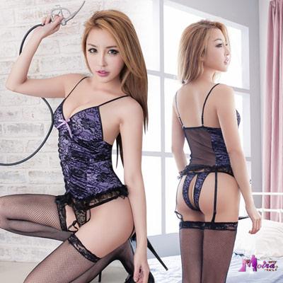 吊襪帶 浪漫紫色蕾絲馬甲四件組 Moira