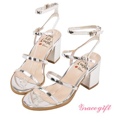 Grace gift X Kerina妞妞-層次細帶粗跟涼鞋 銀