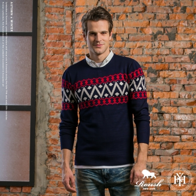 ROUSH 假兩件襯衫式針織毛衣 (3色)