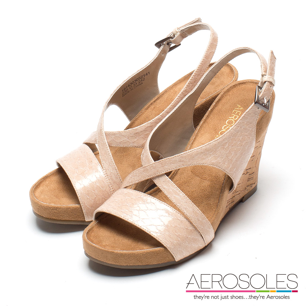 AEROSOLES 維納斯曲線蟒蛇紋交叉繫帶楔型涼鞋~氣質藕粉