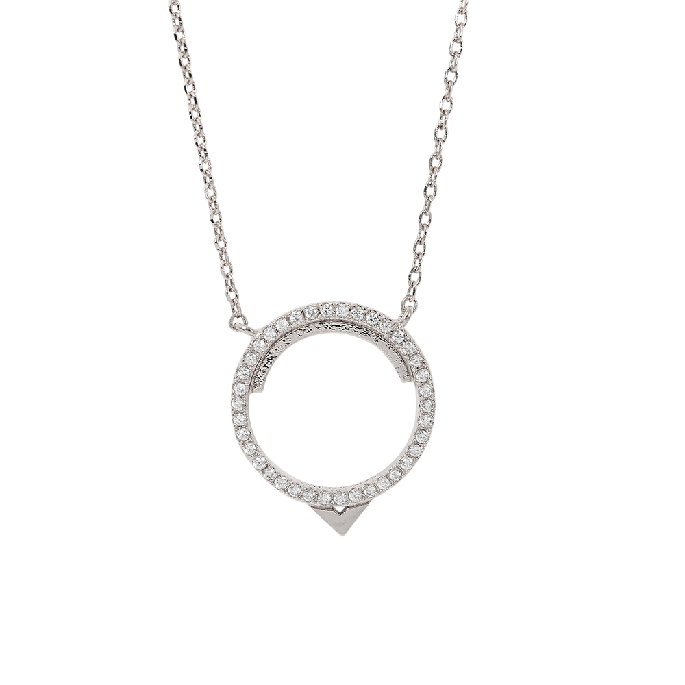 ASTRID&MIYU英國潮流品牌 圓形水鑽項鍊 銀色