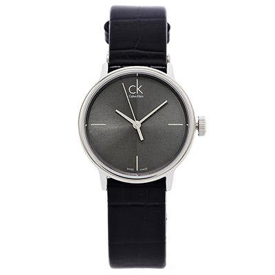 CK Calvin Klein  Accent 簡約款沉靜黑色皮帶女錶 - 灰黑/32mm