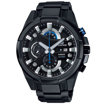 EDIFICE 多層次粗獷三眼賽車錶(EFR-540BK-1A)-鍍黑/48.1mm(平輸)