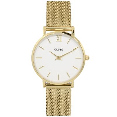 CLUSE荷蘭精品手錶 MINUIT系列 白錶盤/金色金屬錶帶/33mm