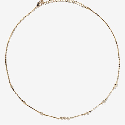 微醺禮物 頸鍊 正韓 鍍 16 K金 金屬頸鍊 菱形 中間三顆排列 項鍊 鎖骨鍊