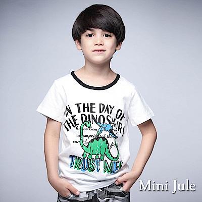 Mini Jule上衣 飛翔恐龍滾邊領短袖上衣(白)