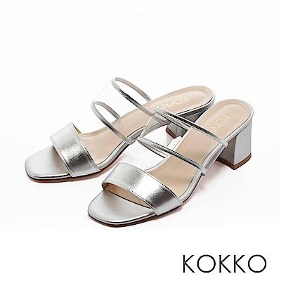 KOKKO-性感透膚環帶方頭粗跟涼拖鞋-復古銀