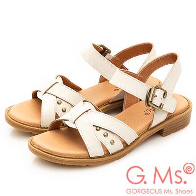 G.Ms. MIT系列-米字鉚釘繫帶牛皮平底涼鞋-白色