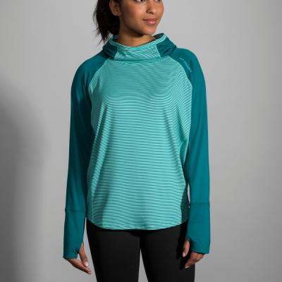 BROOKS 女 DASH 奔跑連身帽上衣 海洋藍綠 (221222392)
