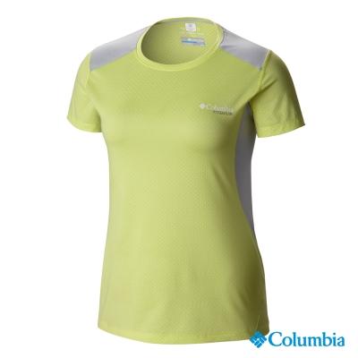 【美國Columbia哥倫比亞】冰涼快排短袖上衣-女-黃(UAR54190YL)