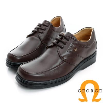 GEORGE-經典素面綁帶厚底真皮方頭鞋-咖啡色