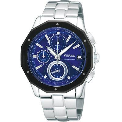 WIRED 黎明昇起時尚潮流計時腕錶(AV6005X)-藍x黑框/42mm
