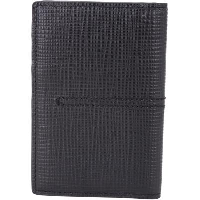 TOD'S 縫線設計壓紋牛皮萬用卡夾(黑色)