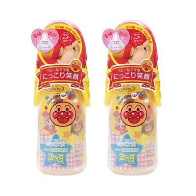 麵包超人-寬口型奶瓶 240 ml+十字孔( 3 m+)- 2 件組