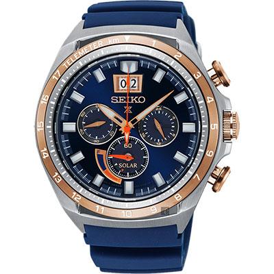 SEIKO精工 Prospex 太陽能大視窗計時手錶(SSC666P1)-藍/45mm