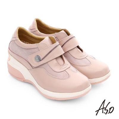 A.S.O 抗震美型 牛皮魔鬼氈奈米楔型休閒鞋 粉紅色