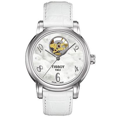 TISSOT  Dressport 心跳機械腕錶-白/35mm