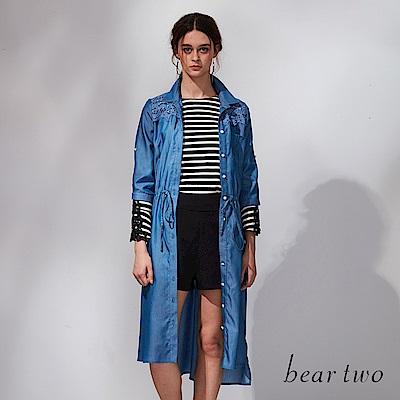 beartwo 丹寧縷空蕾絲綁帶洋裝(藍色)