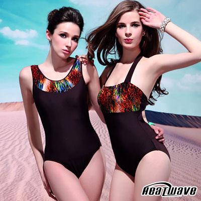 Heatwave 加大泳裝 連身三角-時尚靚女-左款深咖