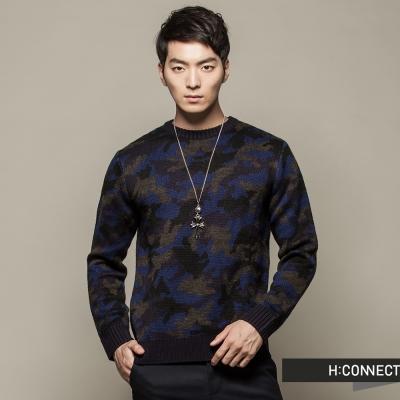 H-CONNECT-韓國品牌-男裝-撞色迷彩圓領毛衣-藍