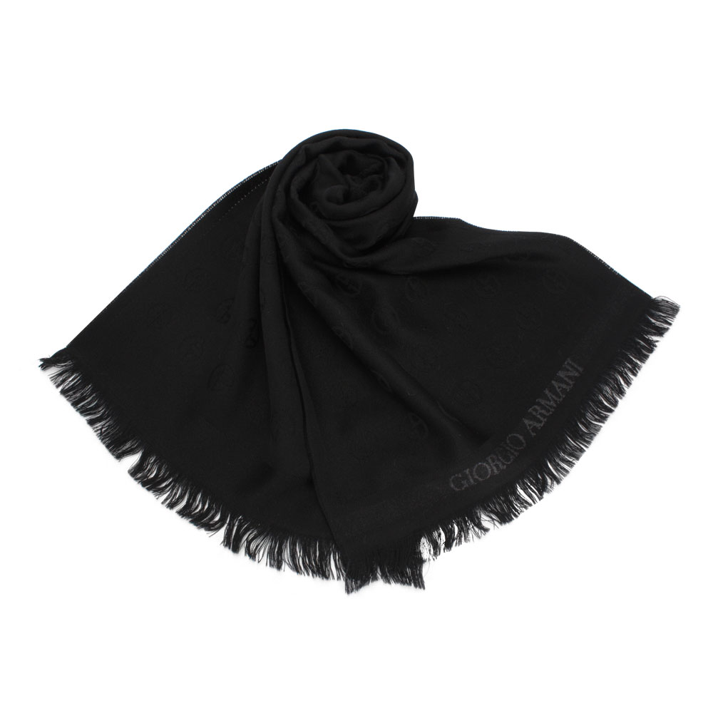 Giorgio Armani 滿版經典LOGO徽章羊毛圍巾-黑