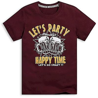 101原創 派對狂歡短袖T恤上衣-暗紅