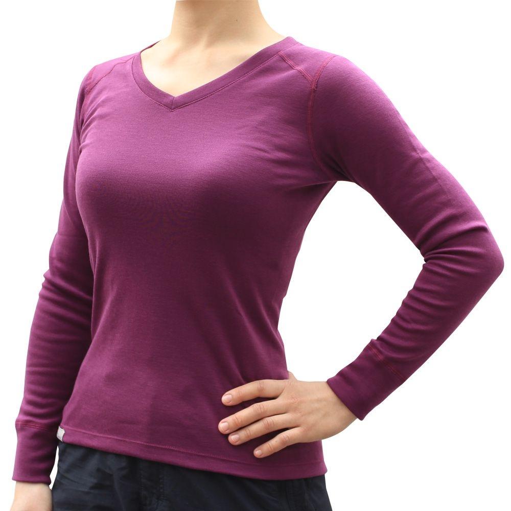 100mountain 保暖排汗內衣V領 女 紫