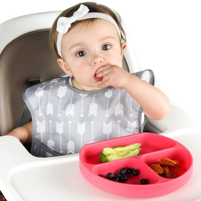 【美國Bumkins】寶寶分格矽膠餐盤_紅BKGD-RED