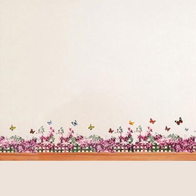 A-094花草系列-紫藤花園踢腳線 大尺寸高級創意壁貼 / 牆貼