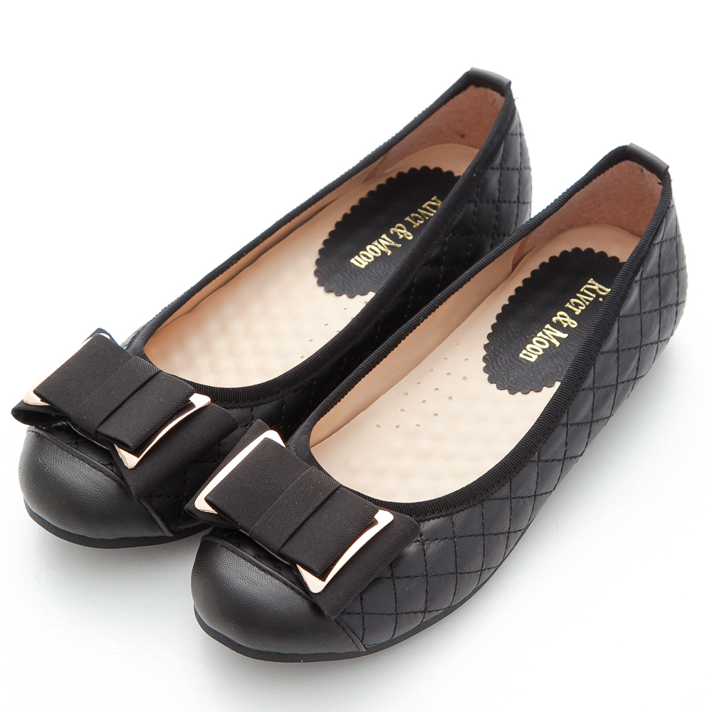 River&Moo台灣製氣質菱格紋緞帶金屬朵結豆豆娃娃鞋-黑色