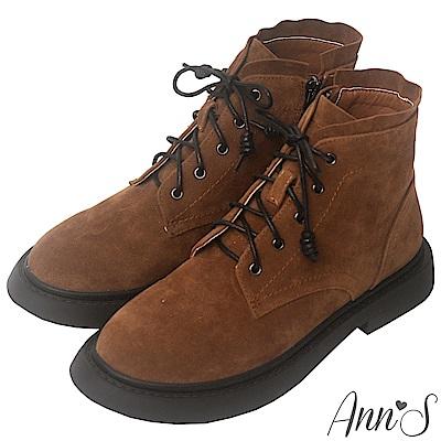 Ann'S搖滾Rocker-層次綁帶分量感厚底短靴-棕