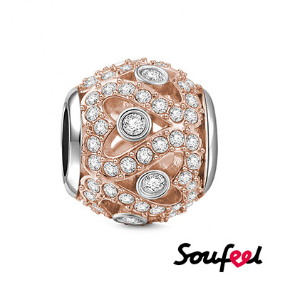 SOUFEEL索菲爾 925純銀珠飾 閃耀的心 串珠(玫瑰金)