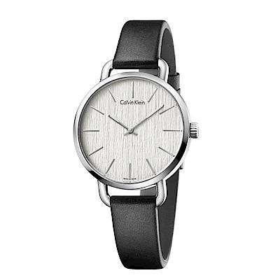 CK CALVIN KLEIN Even 超然系列木質紋銀色面盤女錶-36mm