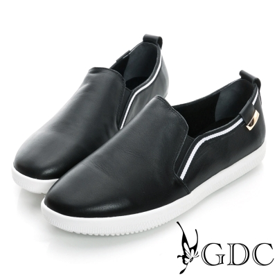 GDC舒適-素面布邊真皮懶人休閒鞋-黑色