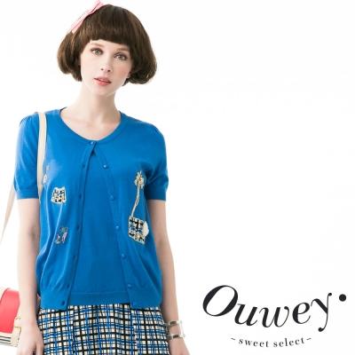 OUWEY歐薇-小香香趣味假兩件式兩用上衣