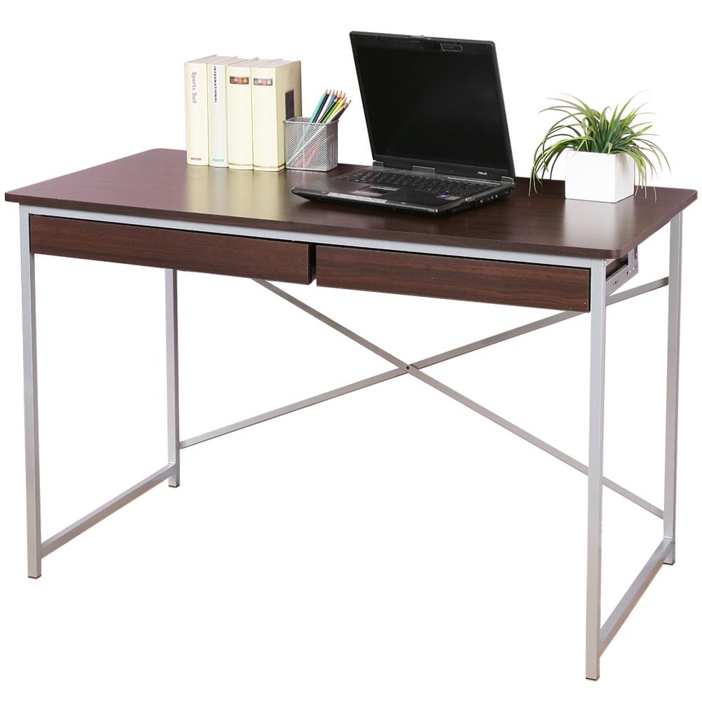 Homelike 創思雙抽書桌 120x60cm -胡桃木色