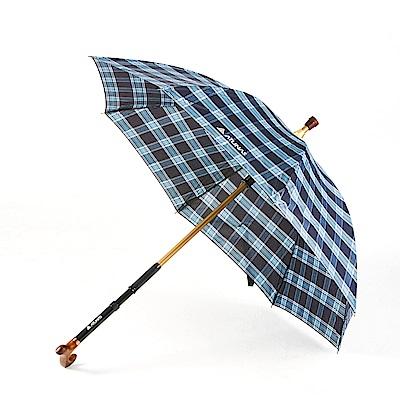 【ATUNAS 歐都納】多用型雨傘拐杖WSK-1601藍格/防曬遮陽擋雨/抗強風