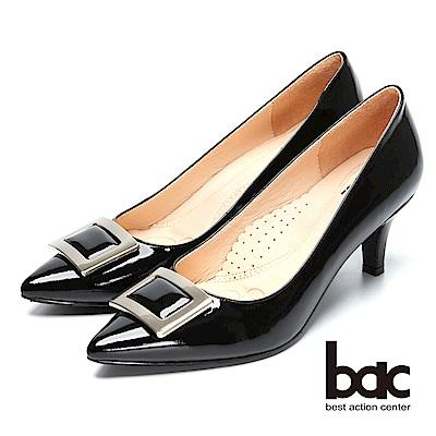bac時尚美人-方形裝飾漆皮尖頭高跟鞋-黑