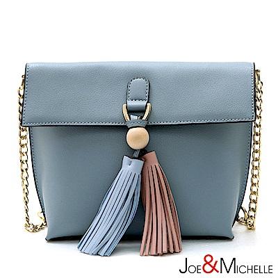 J&M 真皮艾蜜莉鍊帶流蘇斜背包  清新藍
