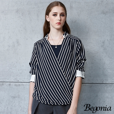 Begonia 假兩件條紋交叉前短後長雪紡上衣(共二色)
