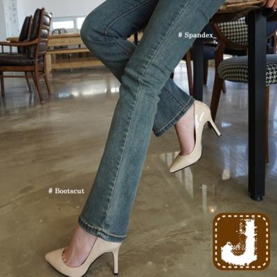 正韓 復古風彈性窄管小喇叭-(藍灰色)100%Korea Jeans