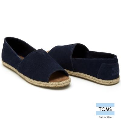 TOMS 露趾麂皮藤邊懶人鞋-女款(藍)