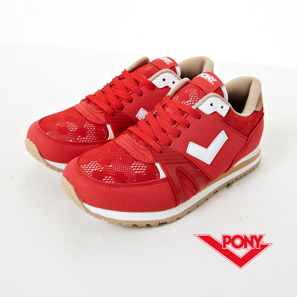 【PONY】SOLA-T3  復古新時尚慢跑鞋-紅(女)