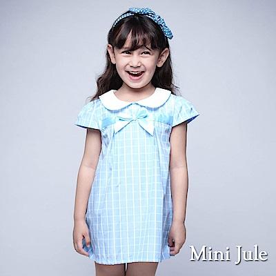 Mini Jule 童裝-洋裝 娃娃領蝴蝶結格子短袖洋裝(淺藍)