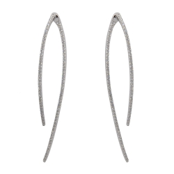 apm MONACO法國精品珠寶 閃耀銀色鑲鋯長形線條耳針式耳環