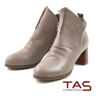 TAS-抓皺牛皮斜口尖頭高跟短靴-淡淺灰